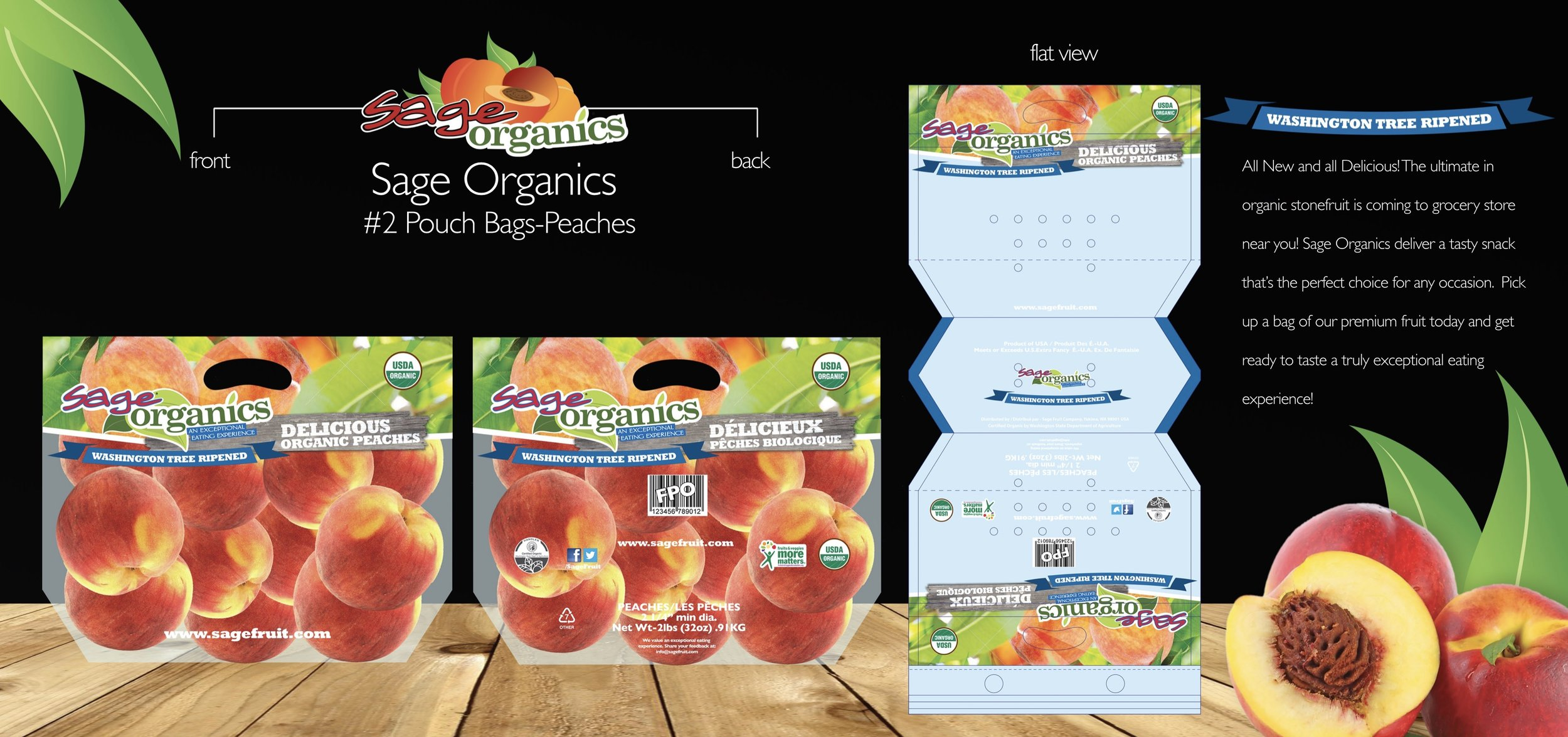 New stone fruit packaging design for Sage Fruit Company.