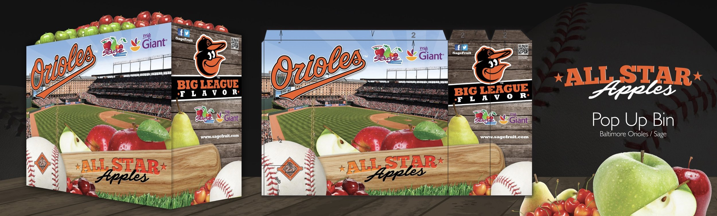 Apple Point of Sale display bins designed in collaboration with Sage Fruit and the Baltimore Orioles.