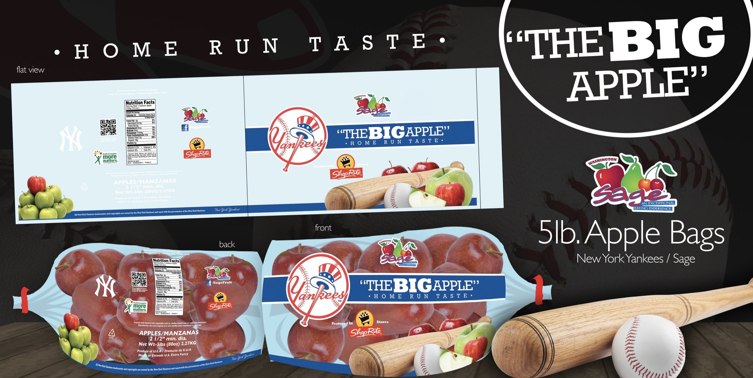 Apple packaging designed for Sage Fruit Company in collaboration with the New York Yankees.