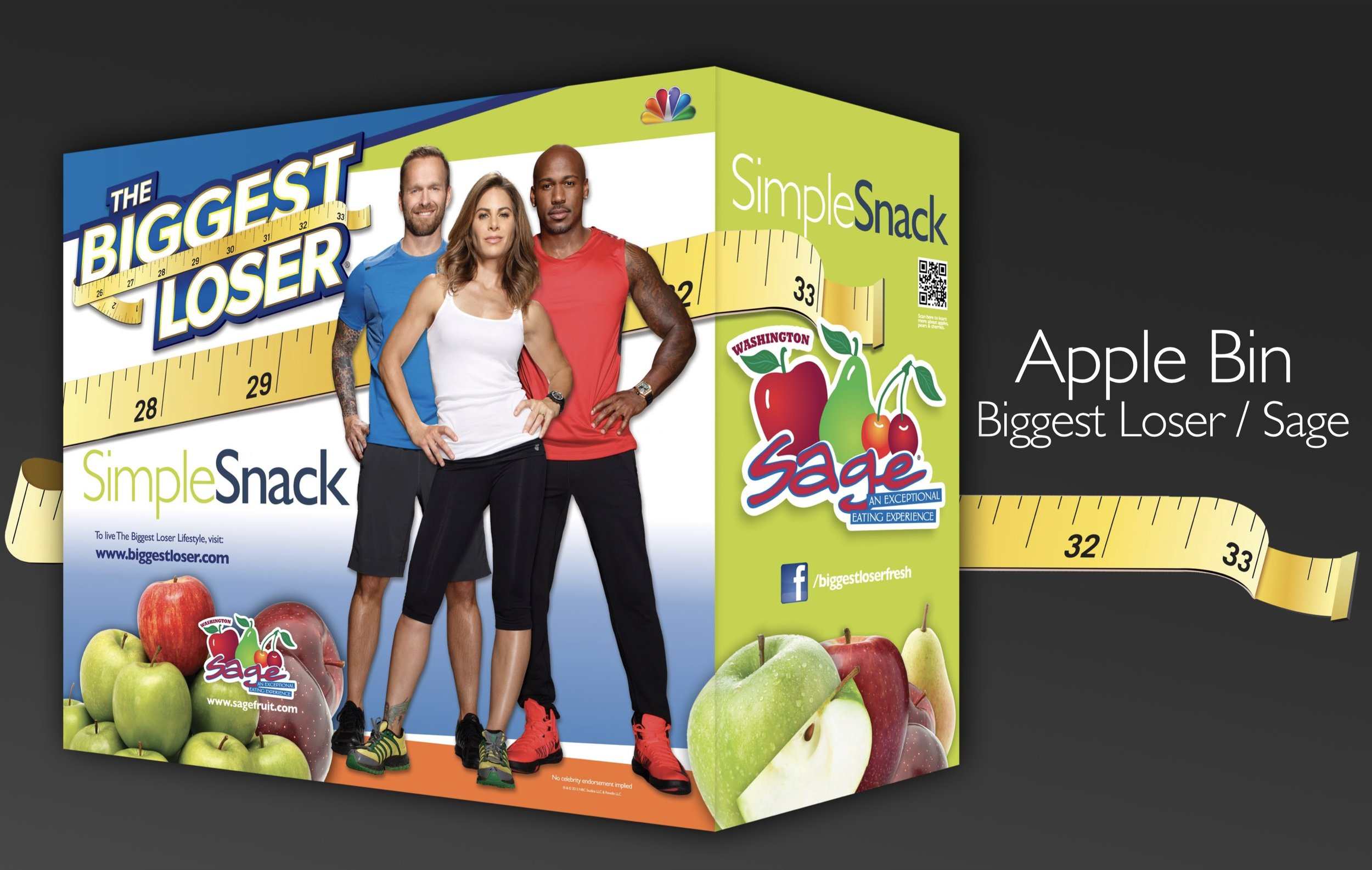 Apple point of sale display designed for Sage Fruit Company in collaboration NBC's Biggest Loser Television show.