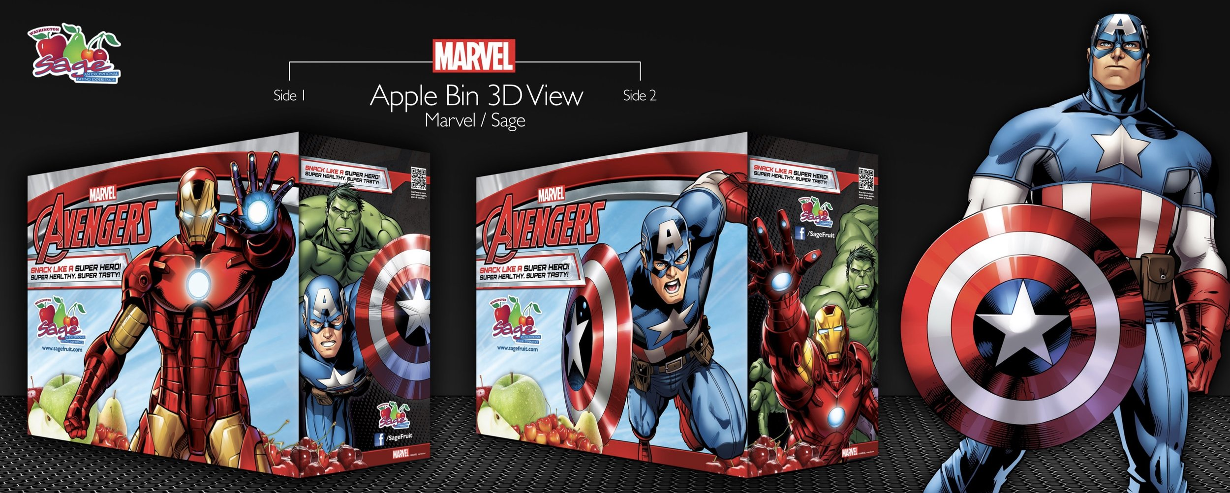 Point of sale apple bin designed for Sage Fruit Company in collaboration with Disney/Marvel.