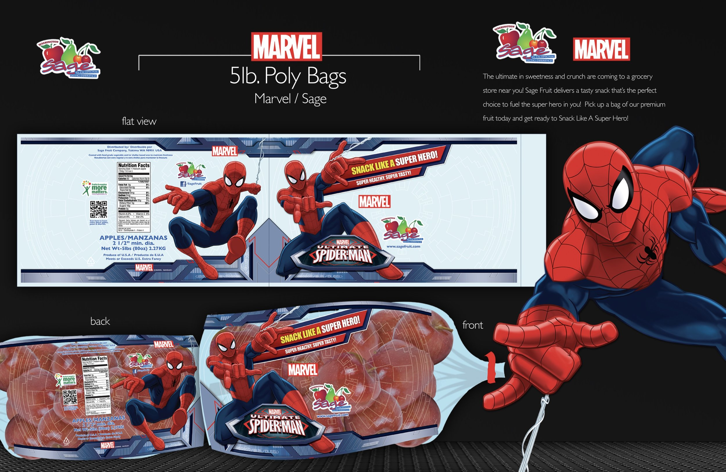 Apple packaging designed for Sage Fruit Company in collaboration with Disney/Marvel.