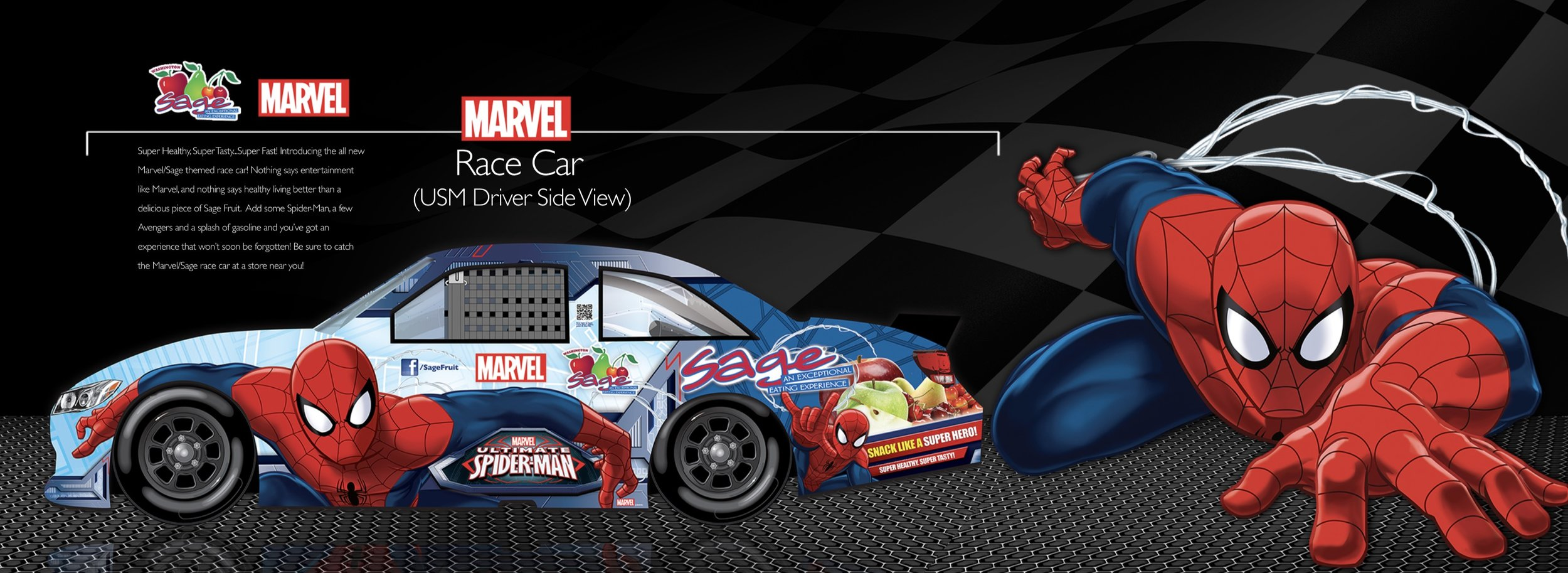 Spiderman vehicle wrap designed in collaboration with Sage Fruit and Disney/Marvel.