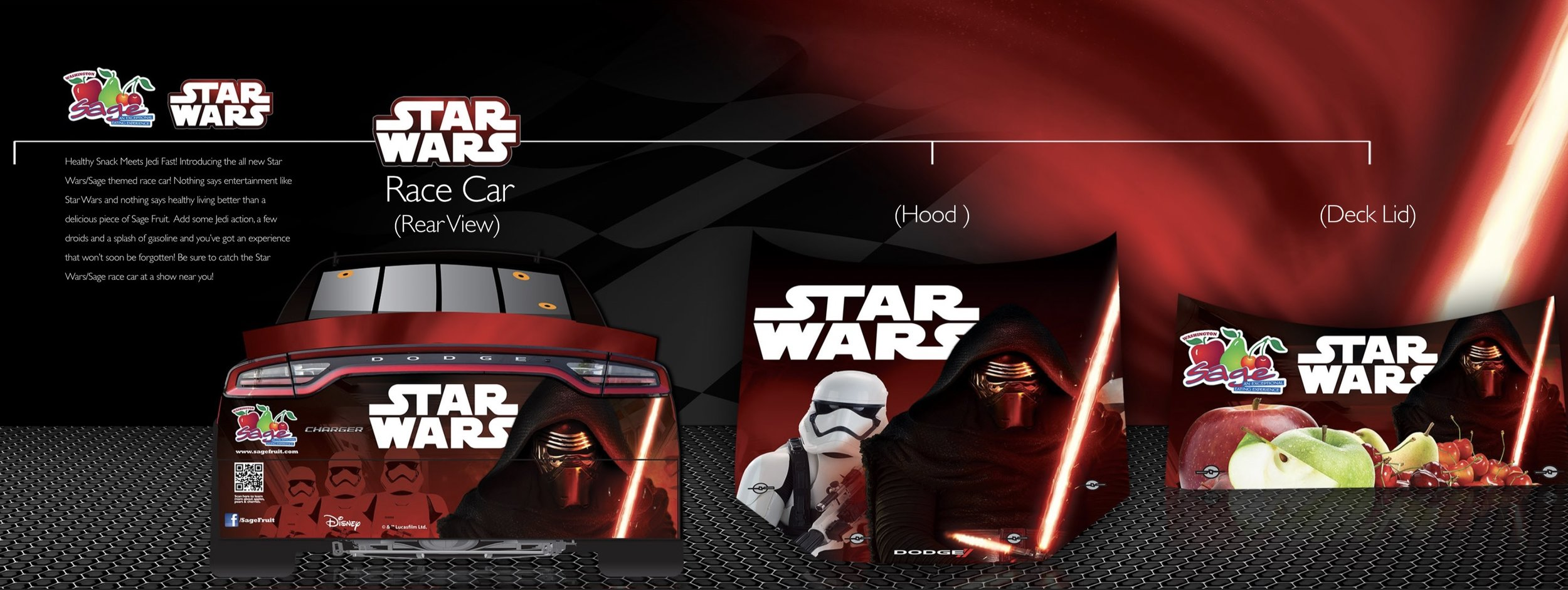 Star Wars vehicle wrap designed in collaboration with Sage Fruit and Disney.