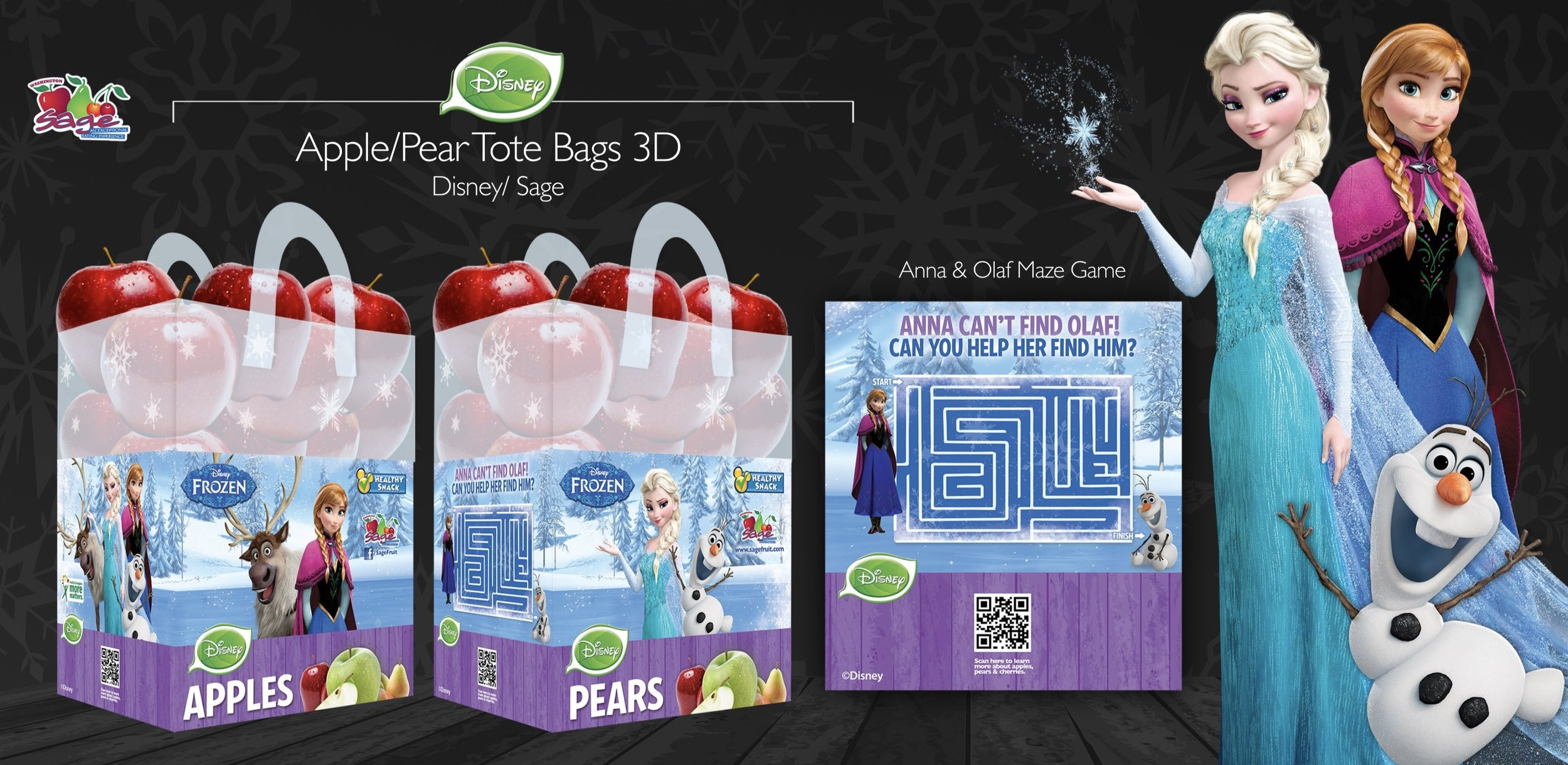 Apple packaging designed for Sage Fruit Company in collaboration with Disney's Frozen movie.