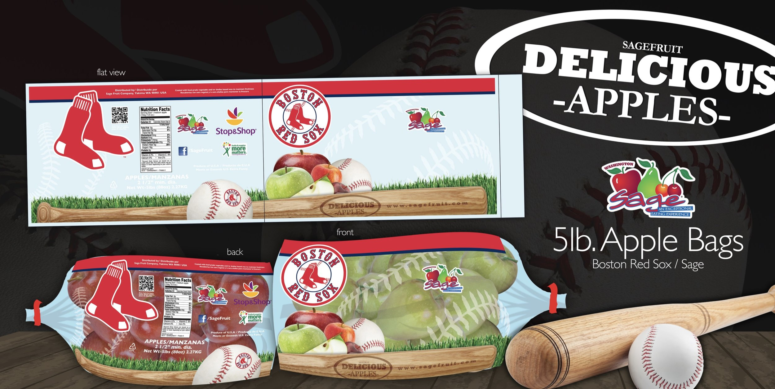 Apple packaging designed for Sage Fruit Company in collaboration with the Boston Red Sox.