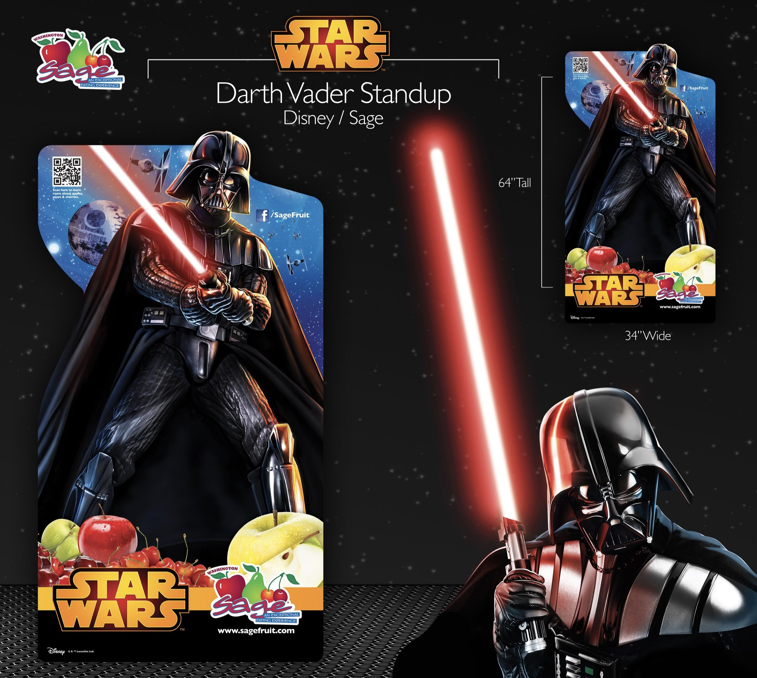 Character standup of Darth Vader designed for Sage Fruit Company in collaboration with Disney.
