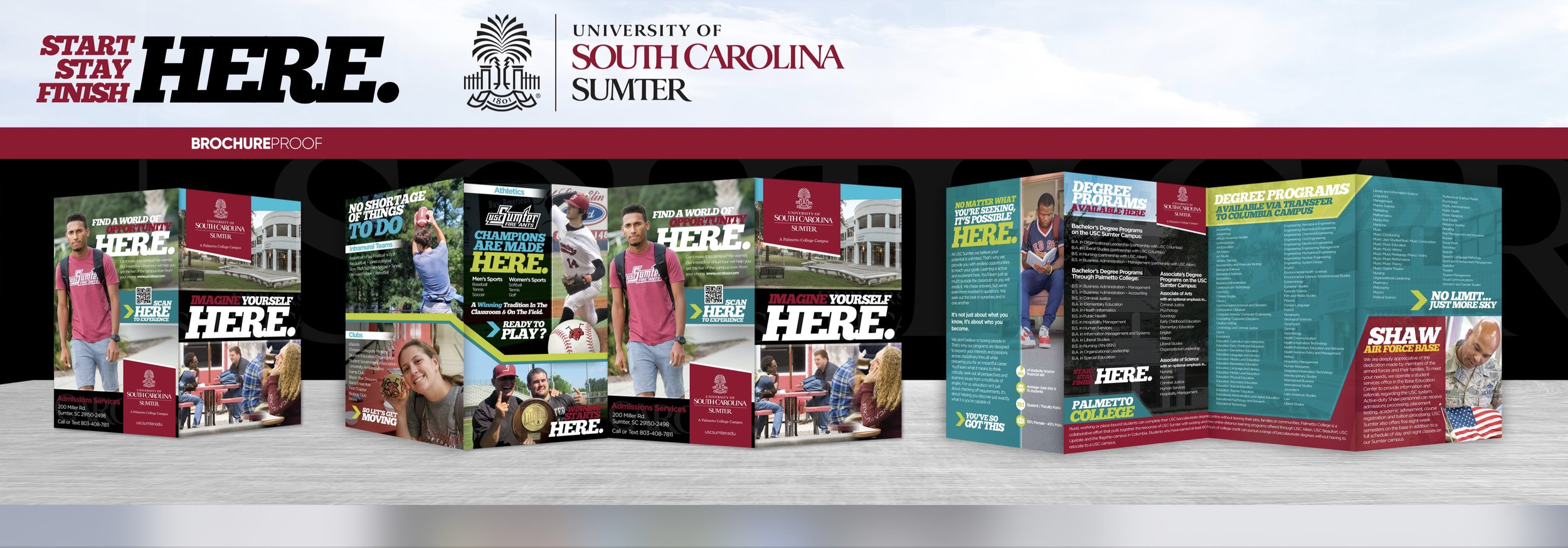 Student travel brochure designed for The University of South Carolina Sumter used in recruitment.