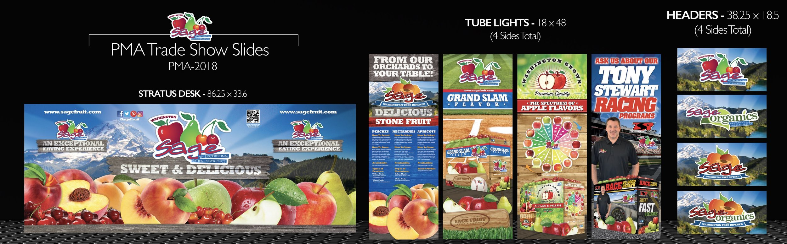 Trade show panel design for Sage Fruit Company and use at their annual PMA trade show event booth.