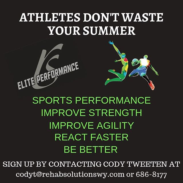 REP Performance starts a new program for the summer!! If you want to improve your sports performance and rise above your competition then you need to sign up now! Classes are filling up quickly!  Call 307-686-8177 or email Cody Tweeten at codyt@rehabsolutionswy.com. You can also sign up at our website which can be found in our bio. Can't wait to see you!  #gillettewy #sportsperformance #gillettewyoming