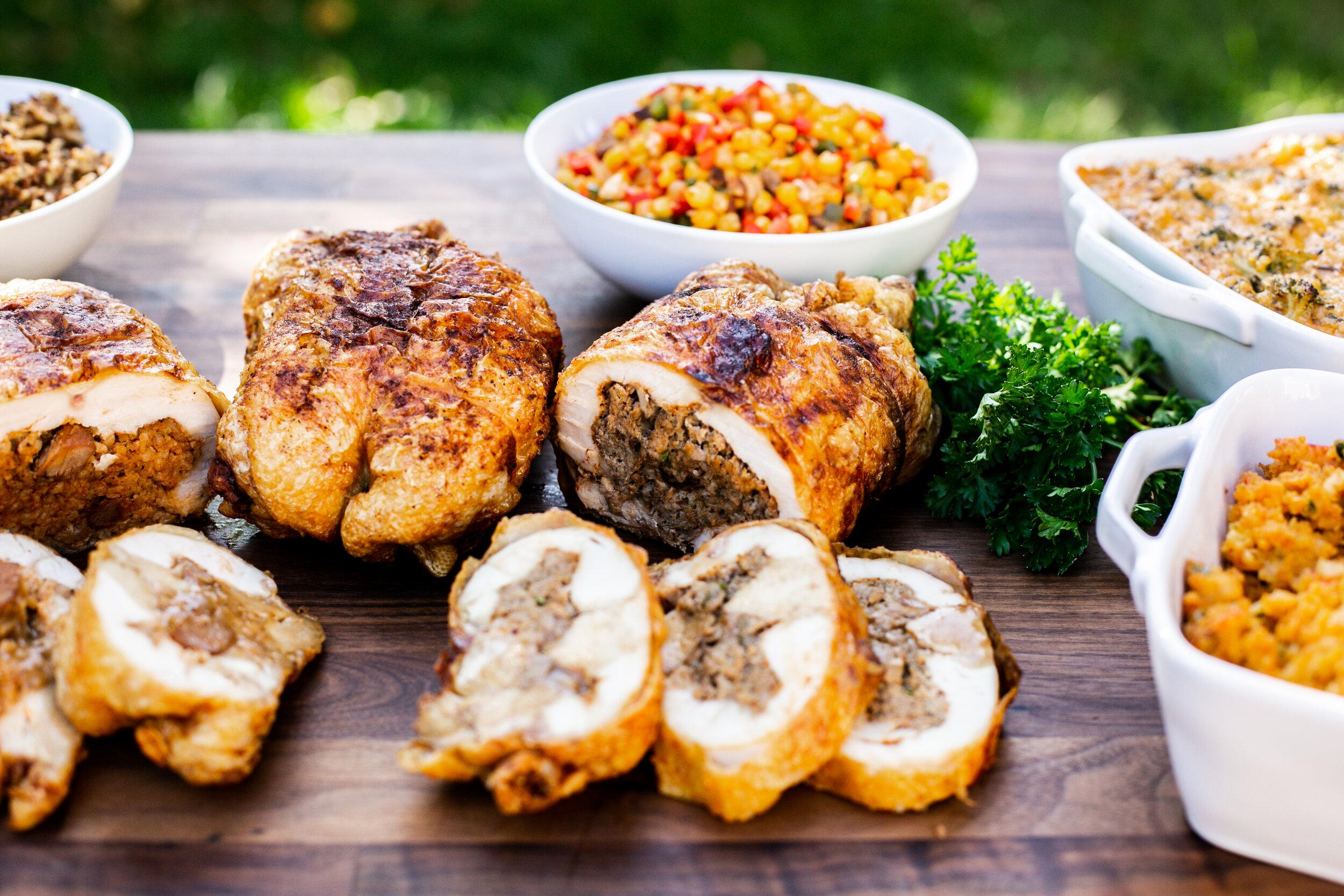 Jambalaya and Boudin Stuffed Fried Chickens (deboned)