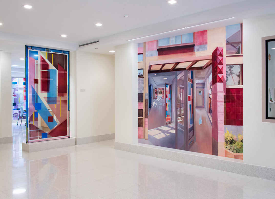 Installation View,  Murals at The Delson supportive housing facility, Jamaica, Queens. Painting by Laini Nemett, Glasswork by Cora Jane Glasser Photo © Marianne Barcellonna
