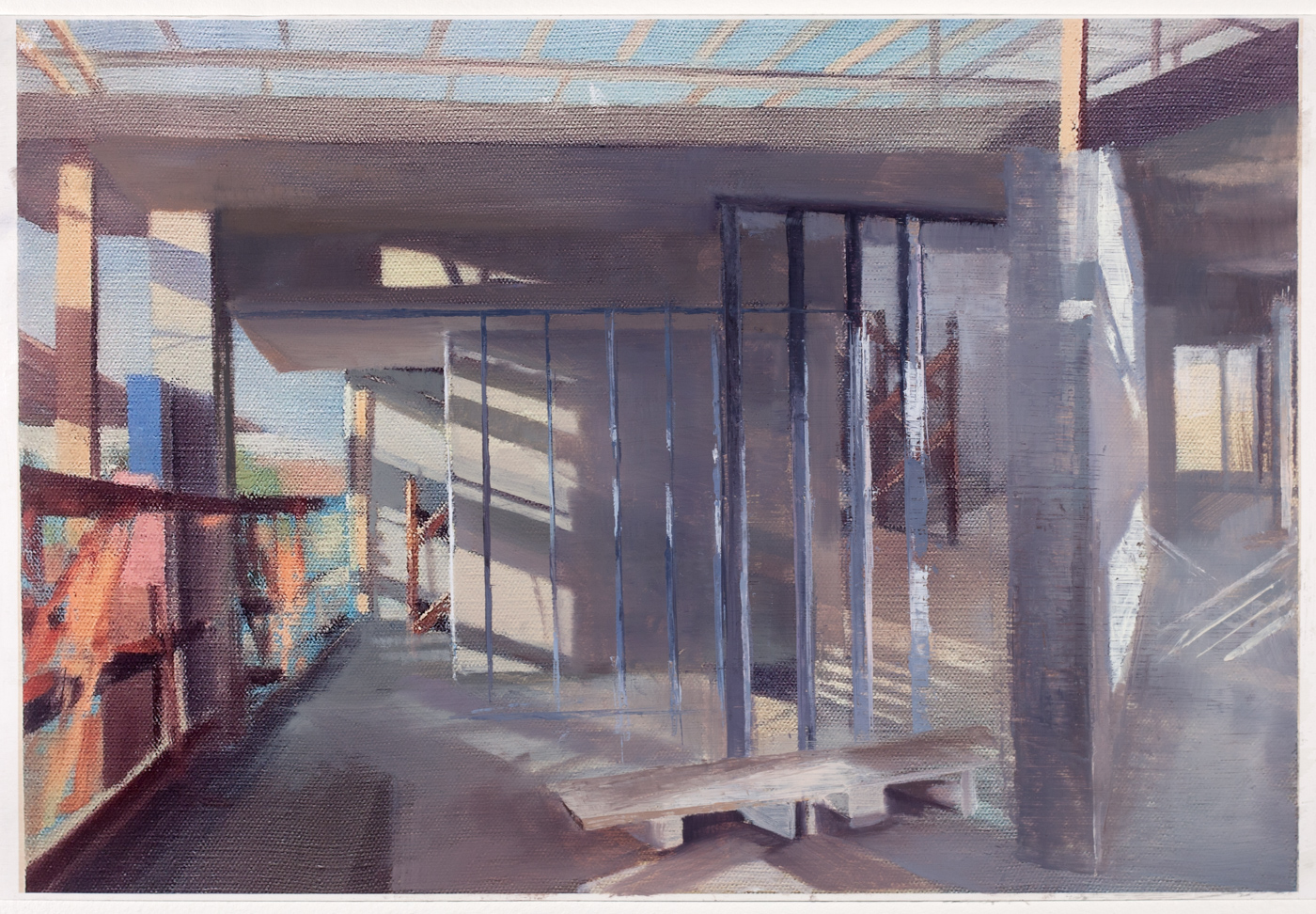 Study for 163rd St,  2018   oil on paper, 10 x 18 in