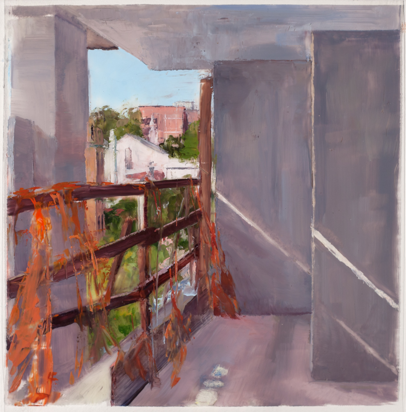 On-site study for 163rd St , 2017 oil on dura-lar, 6 x 6 in