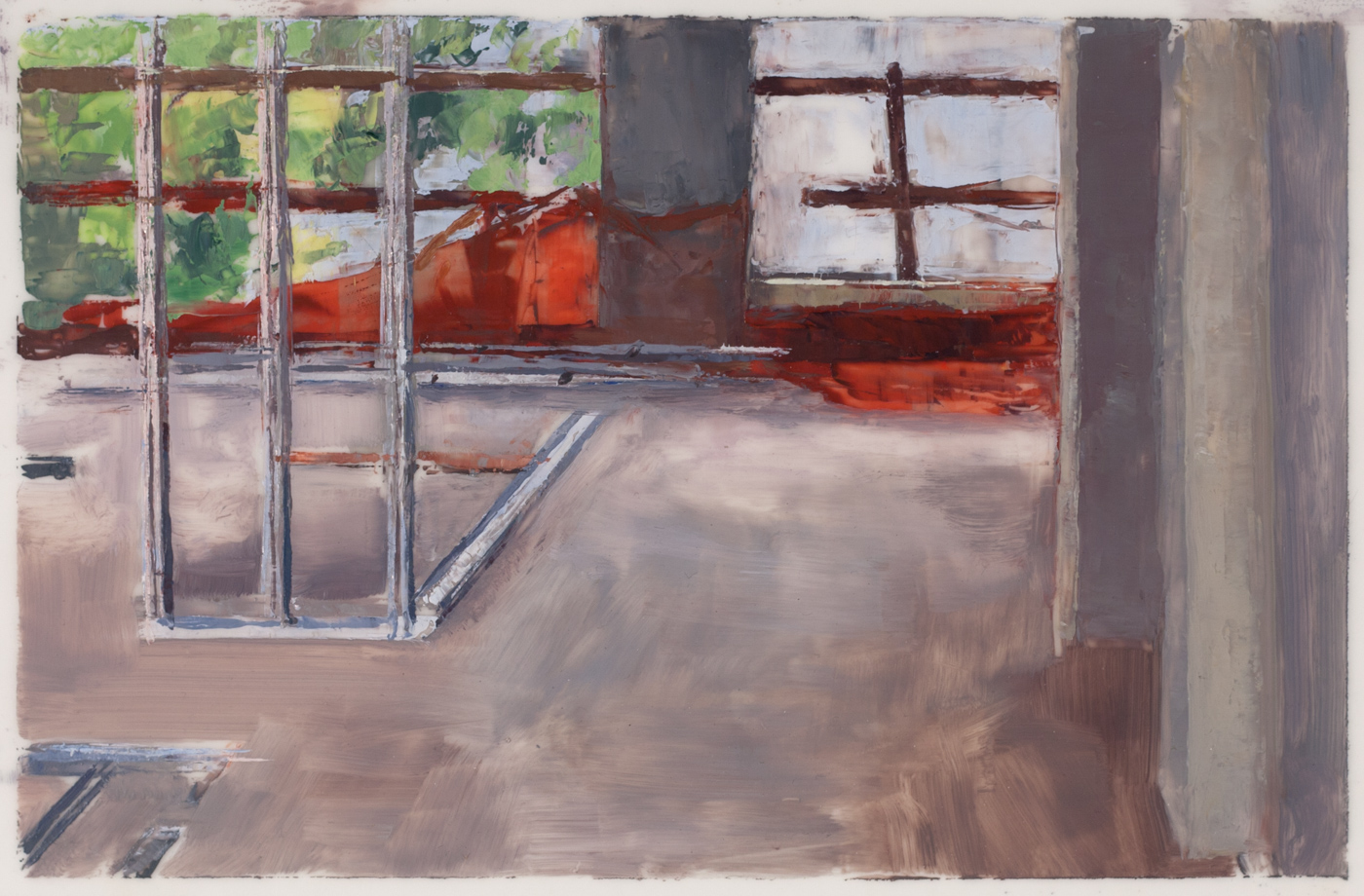 On-site study for 163rd St , 2017 oil on dura-lar, 4 x 7 in