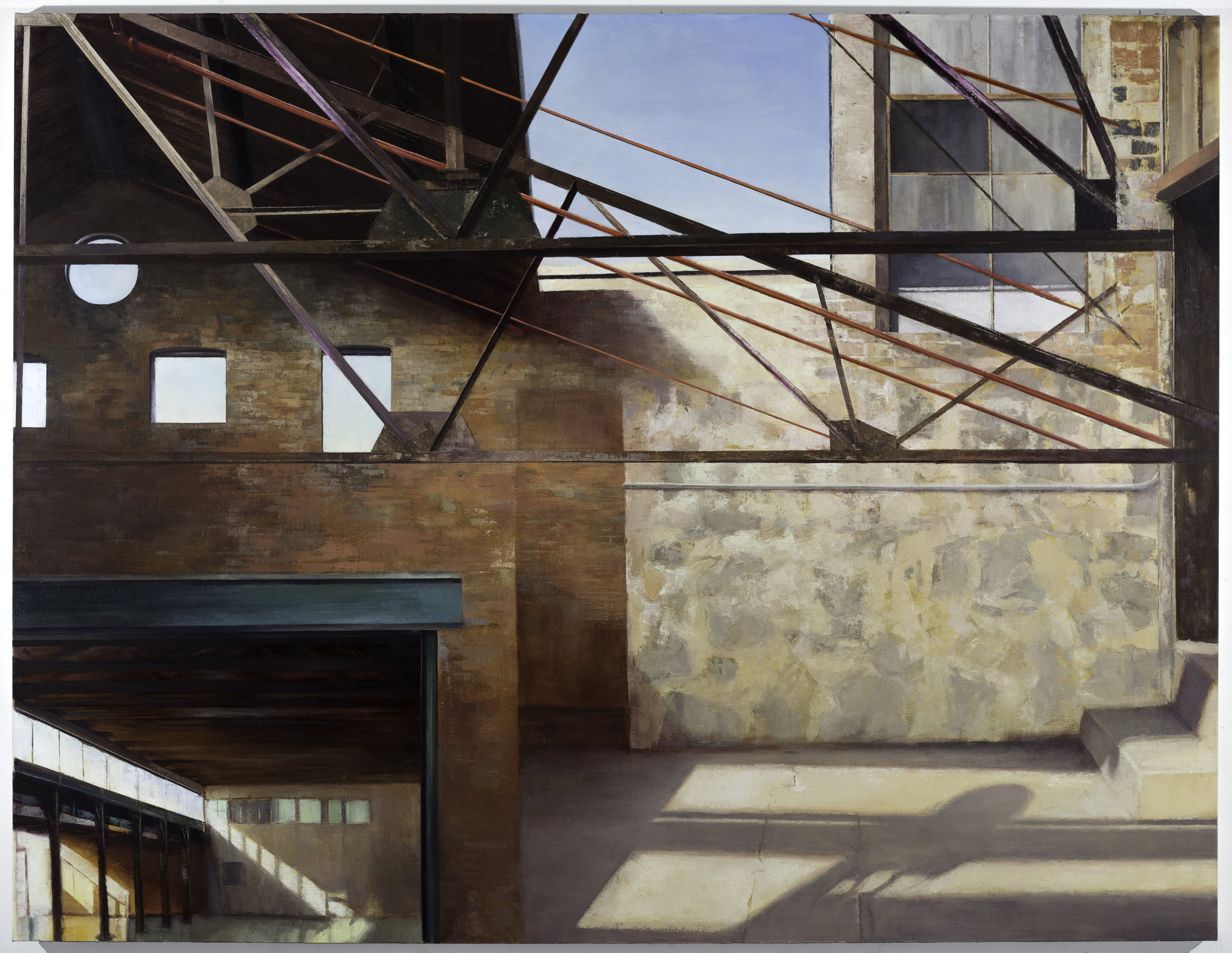 Knockdown Center (After Okada and Abbott),  2016  oil on linen, 56 x 78 in  Commissioned by YoungArts and JP Morgan Chase Art Collection for Miami Art Week