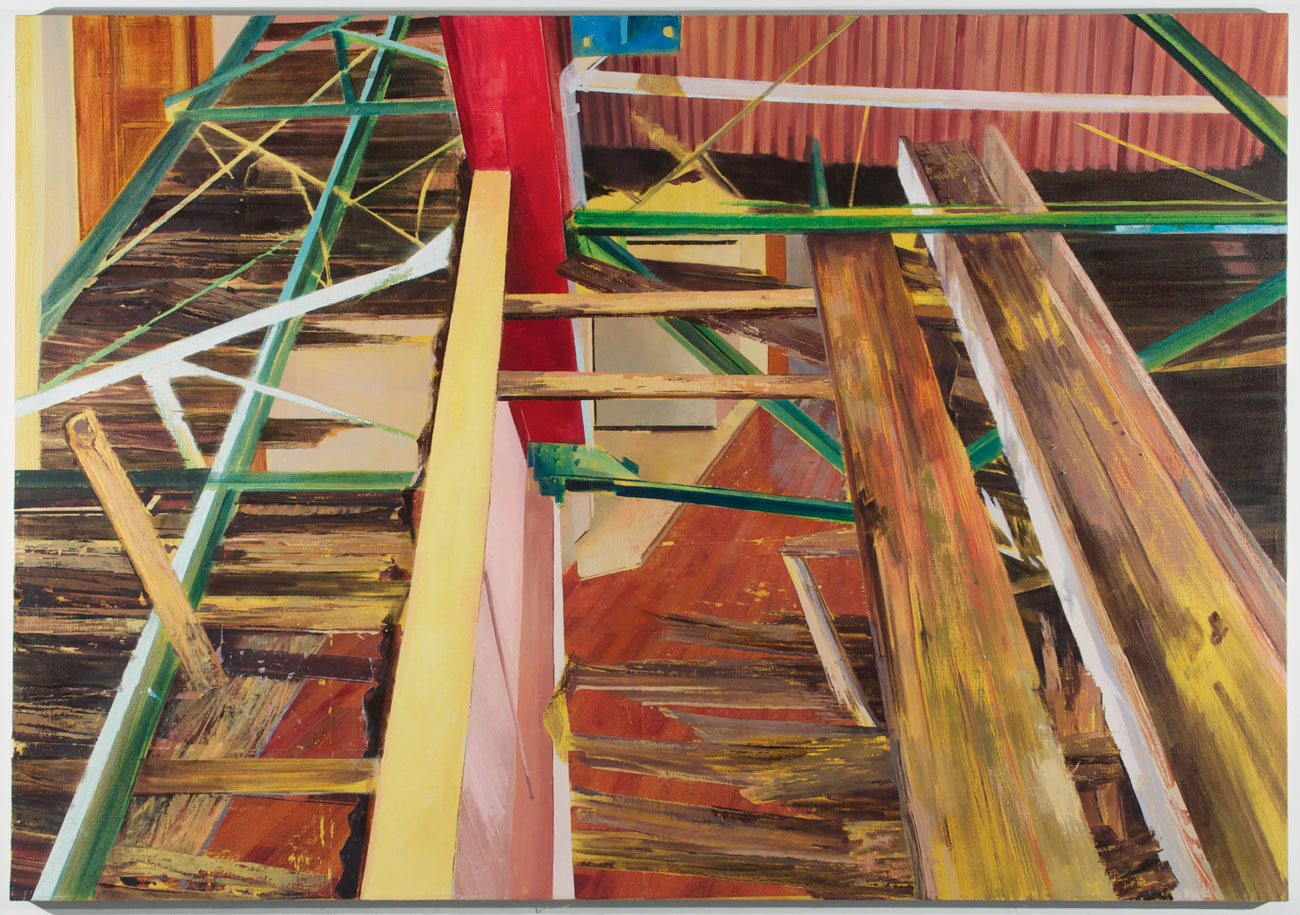 Streetcar Rafters on Newel , 2013 Oil, acrylic, and gesso transfer on linen, 50 x 70 in