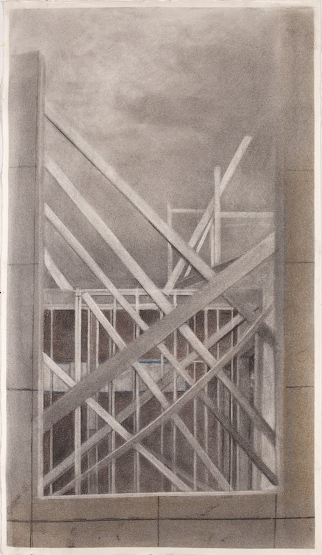 Beginning Again,  2014 graphite on paper, 26 x 14 in