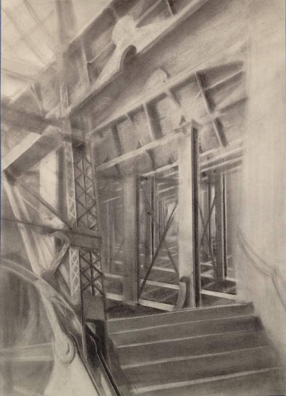 Queensboro Seine 2,  2014 graphite powder on paper, 36 x 22 in