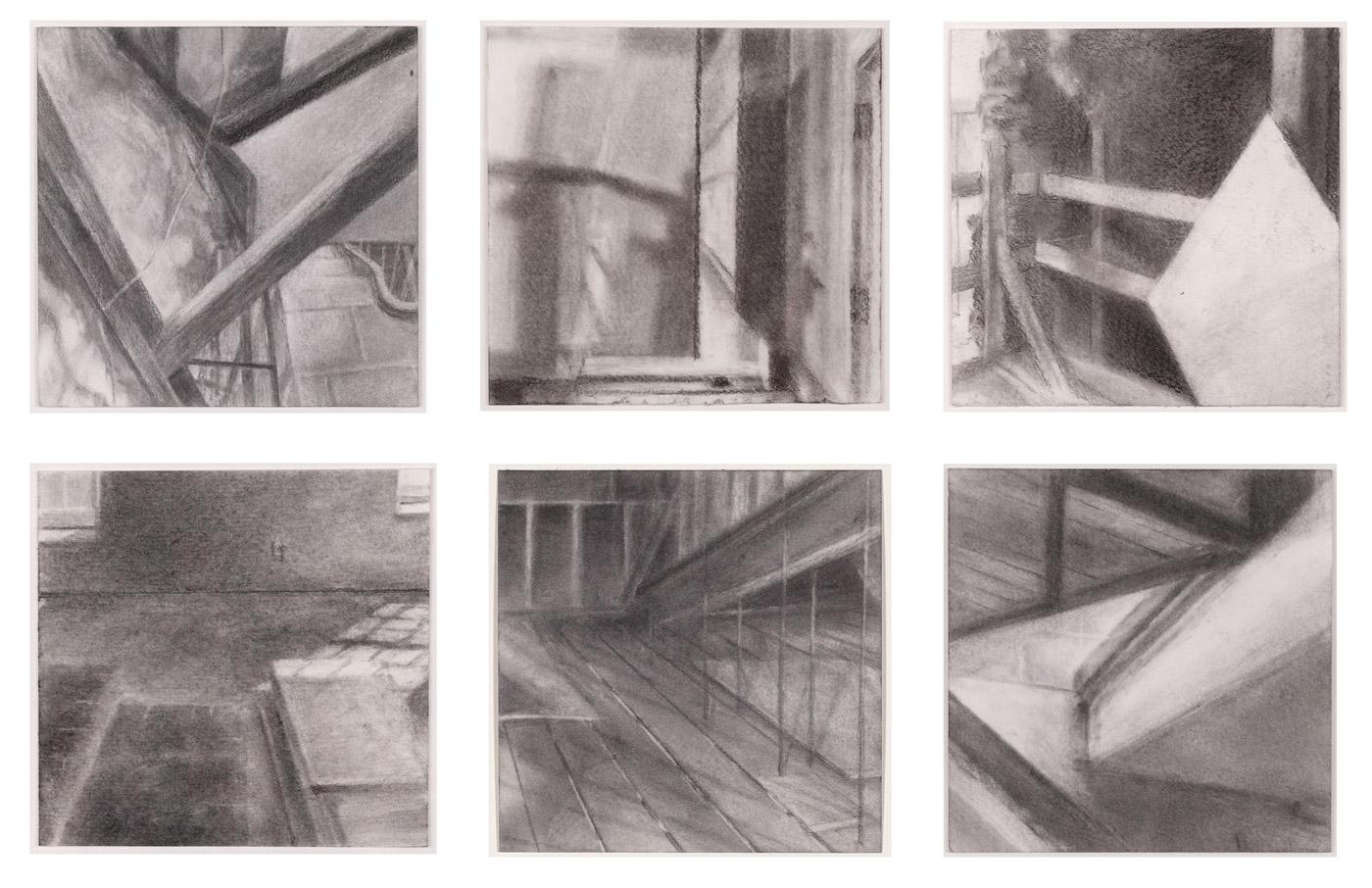 Feigenbaum Building Studies,  2016 graphite powder on paper, 4 x 4 in each
