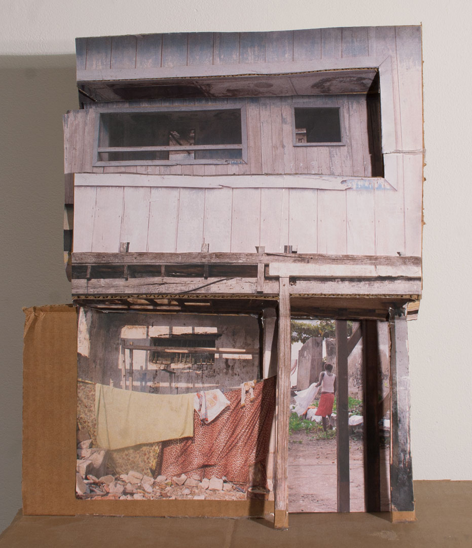 Naima in the Afternoon (Drift) , 2011 collage on cardboard, 15 ½ x 15 ½ x 8 in