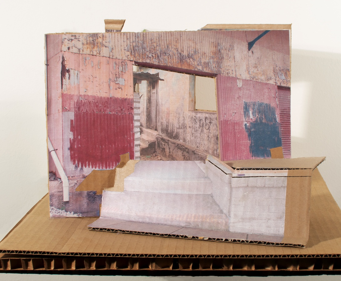 Falls Extended, Model , 2013 collage on cardboard, 11 x 14 ¾ x 11 ½ in