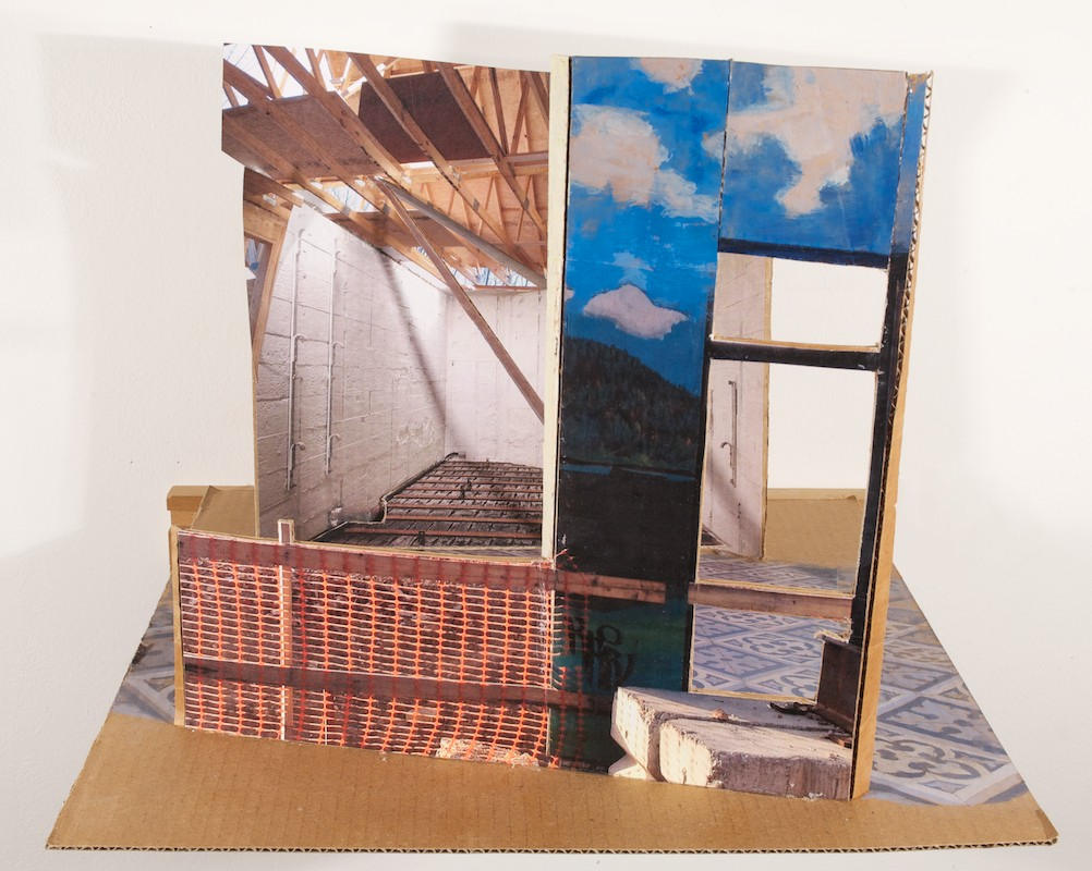 Between Baltimore and Normandy , 2013 oil & collage on cardboard, 13 ¾ x 10 x 12 in