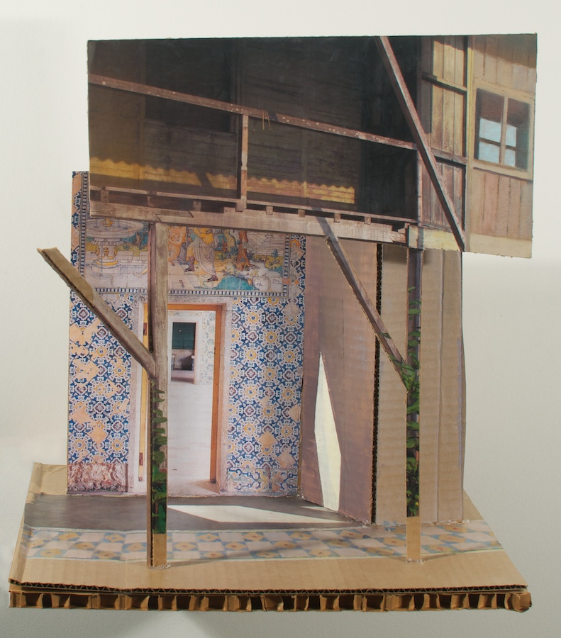 Balustrade over Azulejos , 2013 oil & collage on cardboard, 15 x 14 ½ x 11 in