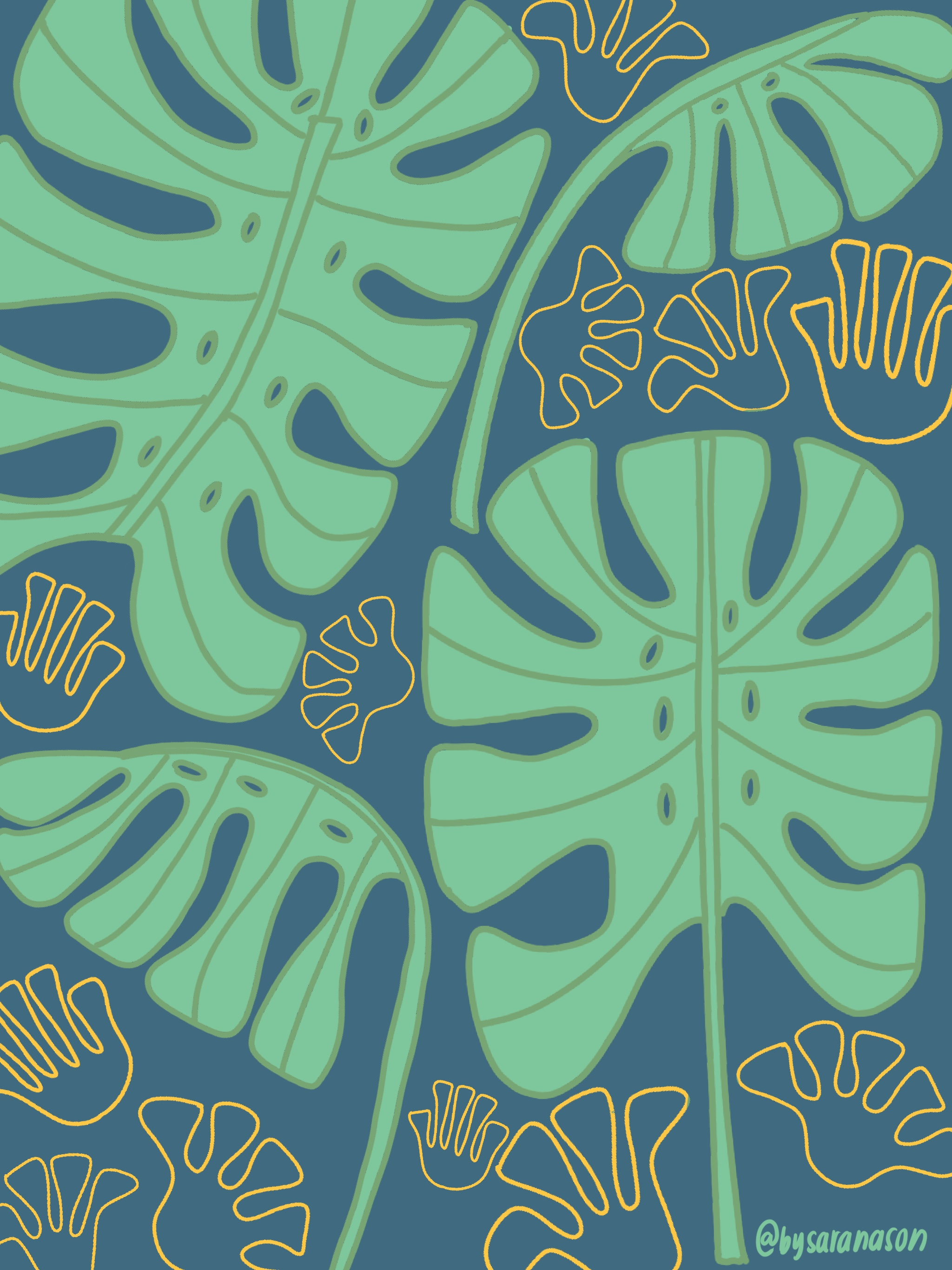 Monstera Pattern - Yellow, Green, & Blue.jpg