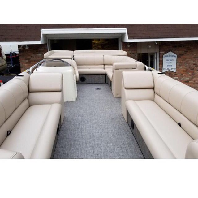 A fresh new look on this pontoon boat. New Compass flooring supplied by @miamicorp, installed by us along with all new upholstery crafted by us. #customupholstery #miamicorp #playbuoy #lakehopatcong #spartanj #jeffersonnj #battenthehatchesnj