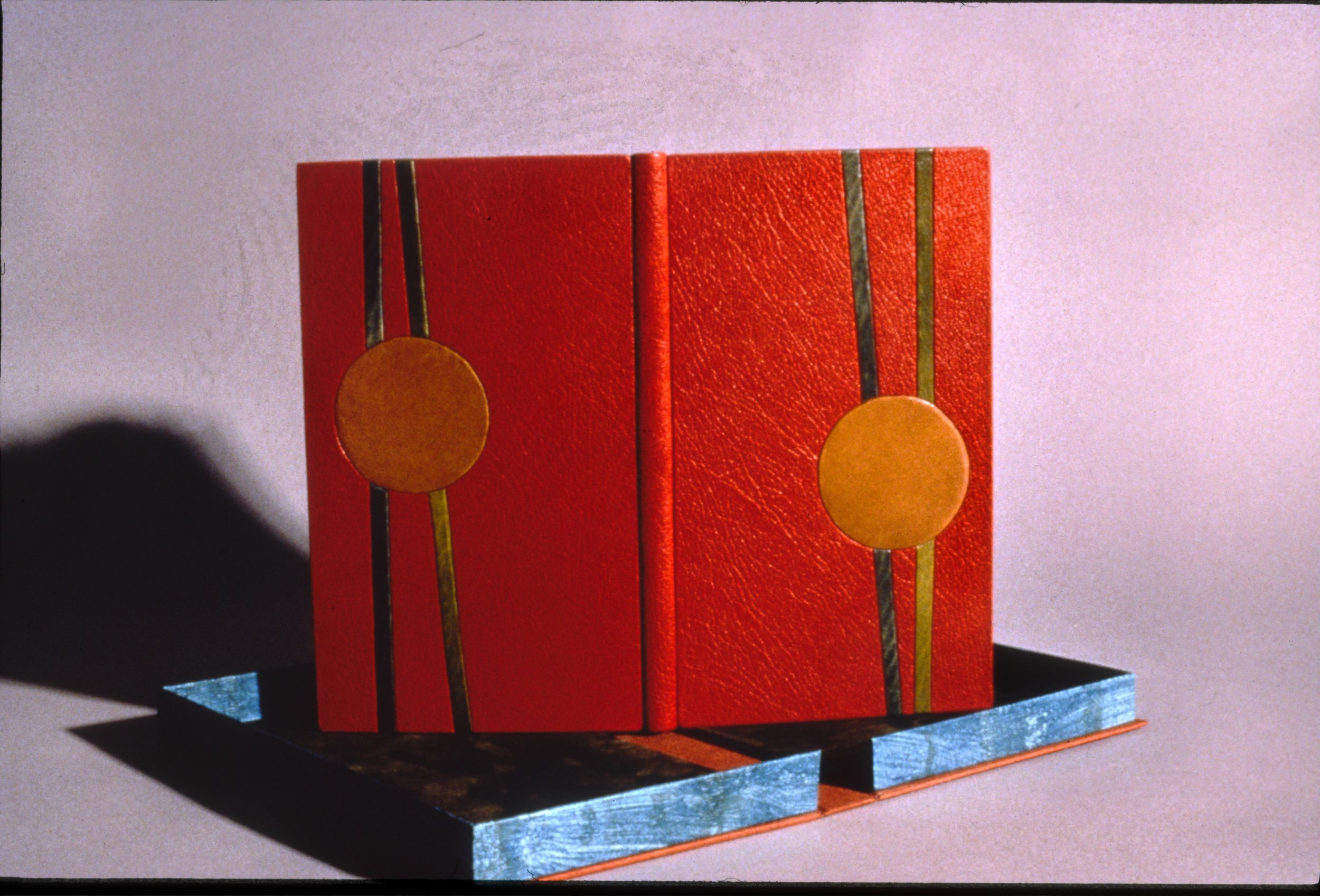 When We Were Here Together,Kenneth Patchen - This first edition by New Directions Press was rebound in full leather, in the French tight back style with hand dyed unbleached calf inlays mimicking the original dust cover design. The linen clamshell protective container is lined in suede.