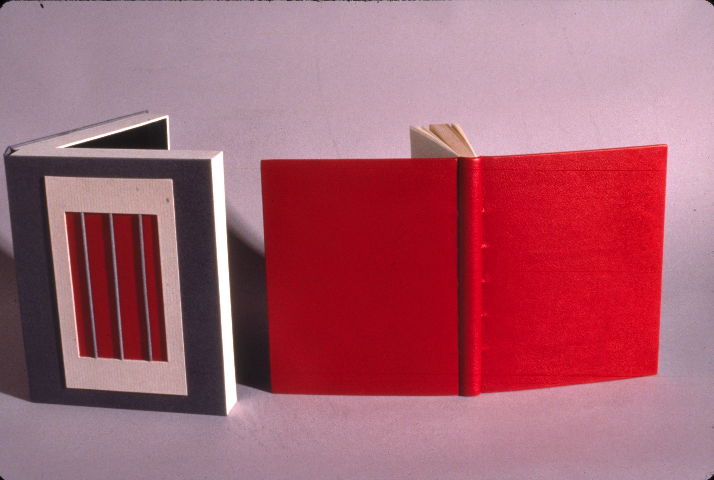 The Ballad of Reading Gaol, by Oscar Wilde - This book was rebound with red Morrocan calf in the French tight back style. The protective clamshell is made of grey linen with a decorative front design.