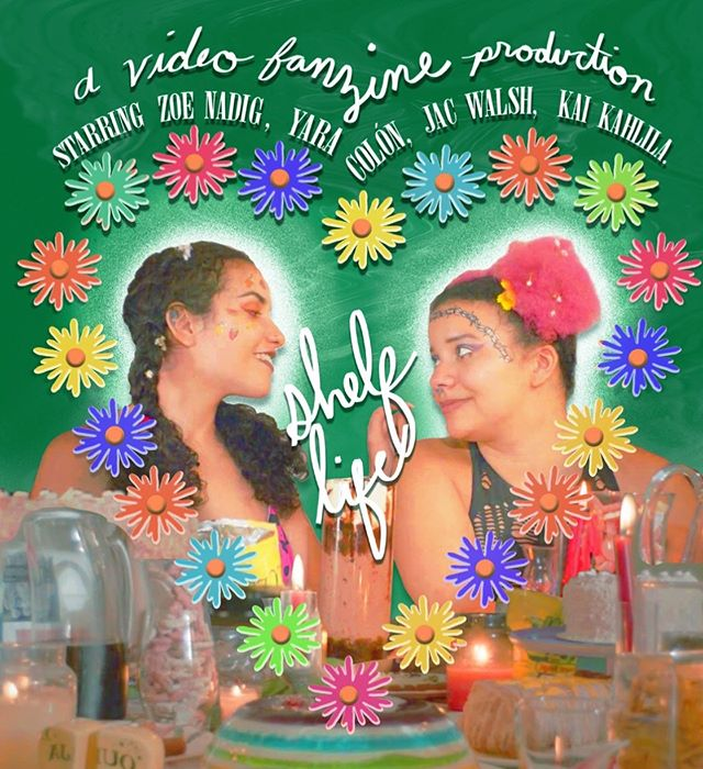 It's our first poster, by the incredible @mary__jester - featuring @tropigothjuicyx as Marge and @femmmeadjacent as Zelda - our apocalyptic Daisies duo. 🌸  Instagram makes posting this impossible so check out our story for the full poster. :) So excited to share this first image for our fun little gay end-of-the-world movie!!! We're deep into editing Shelf Life, and will have more updates (release and screening dates) soon!