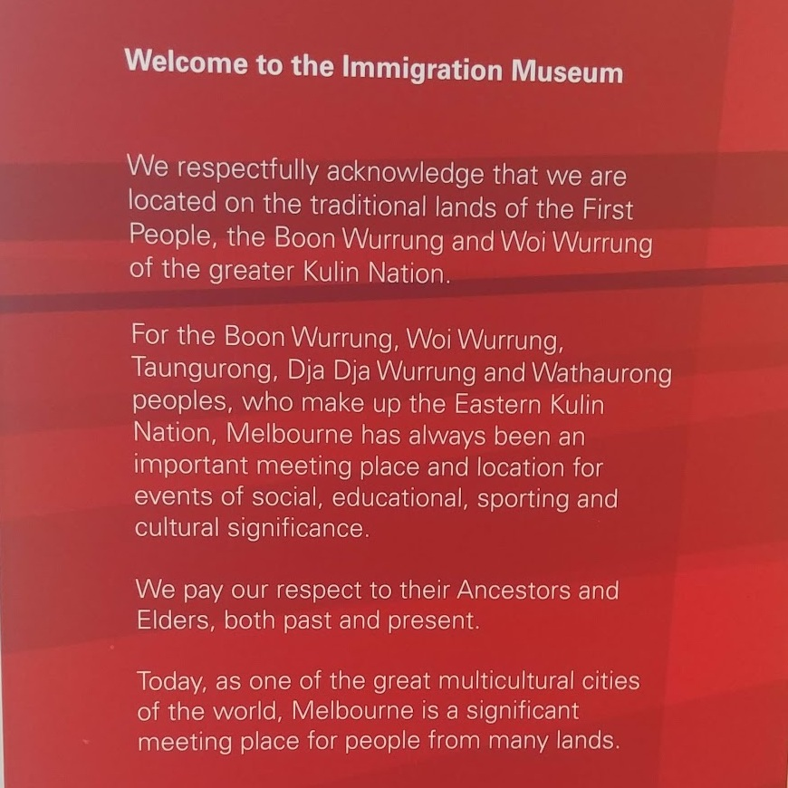 Welcome sign, Immigration Museum, Melbourne, VIC