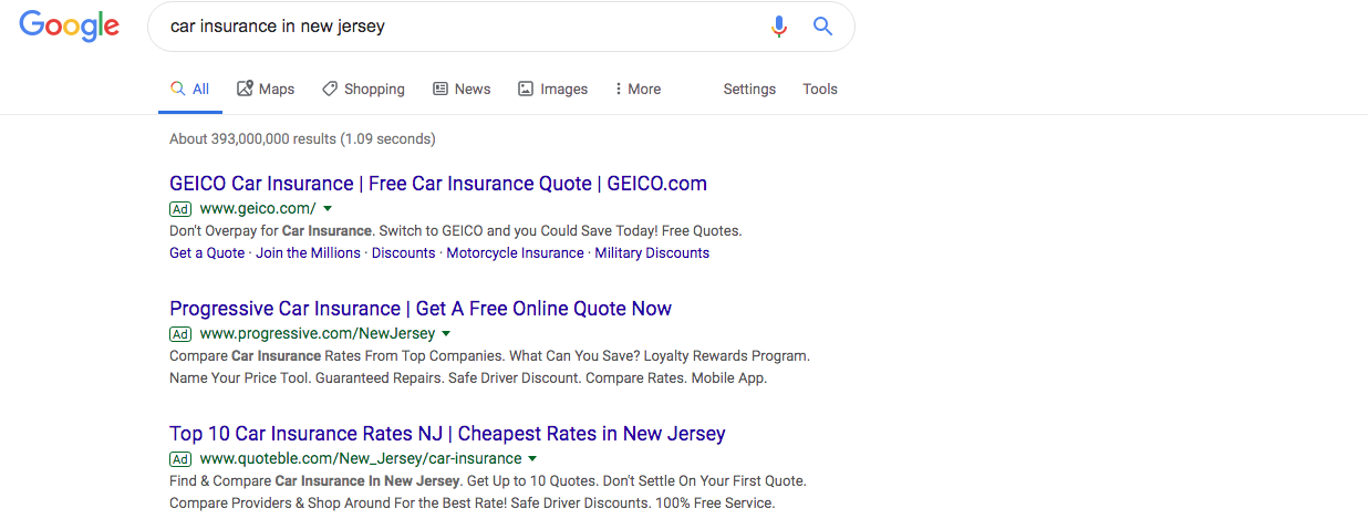 2019 ranking for google searches for small business