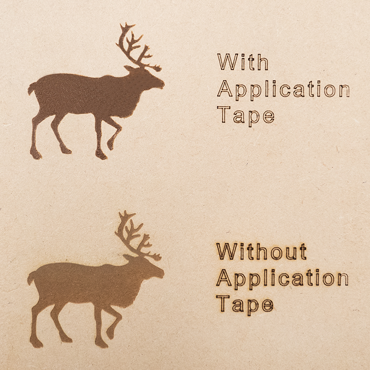Laser engravings on MDF shown with and without application tape