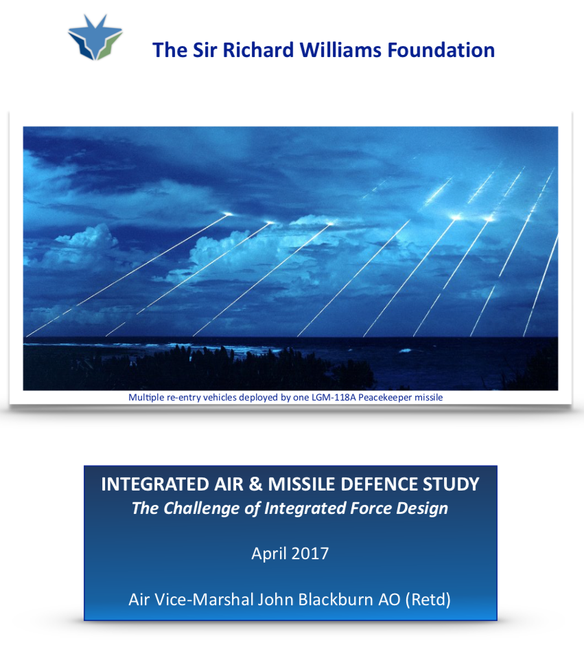 The Williams Foundation conducted an Integrated Air and Missile Defence (IAMD) study between Sep16 and Feb17 - The aim of the study was to explore the challenges of building Australia's IAMD capability and the implications for the Department of Defence's integrated force design function. The study was focussed at the Program level of capability.Download the Report
