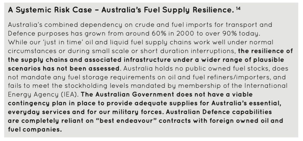 A SYSTEMIC RISK EXAMPLE CONTAINED IN THE DEFENCE LOGISTICS REPORT