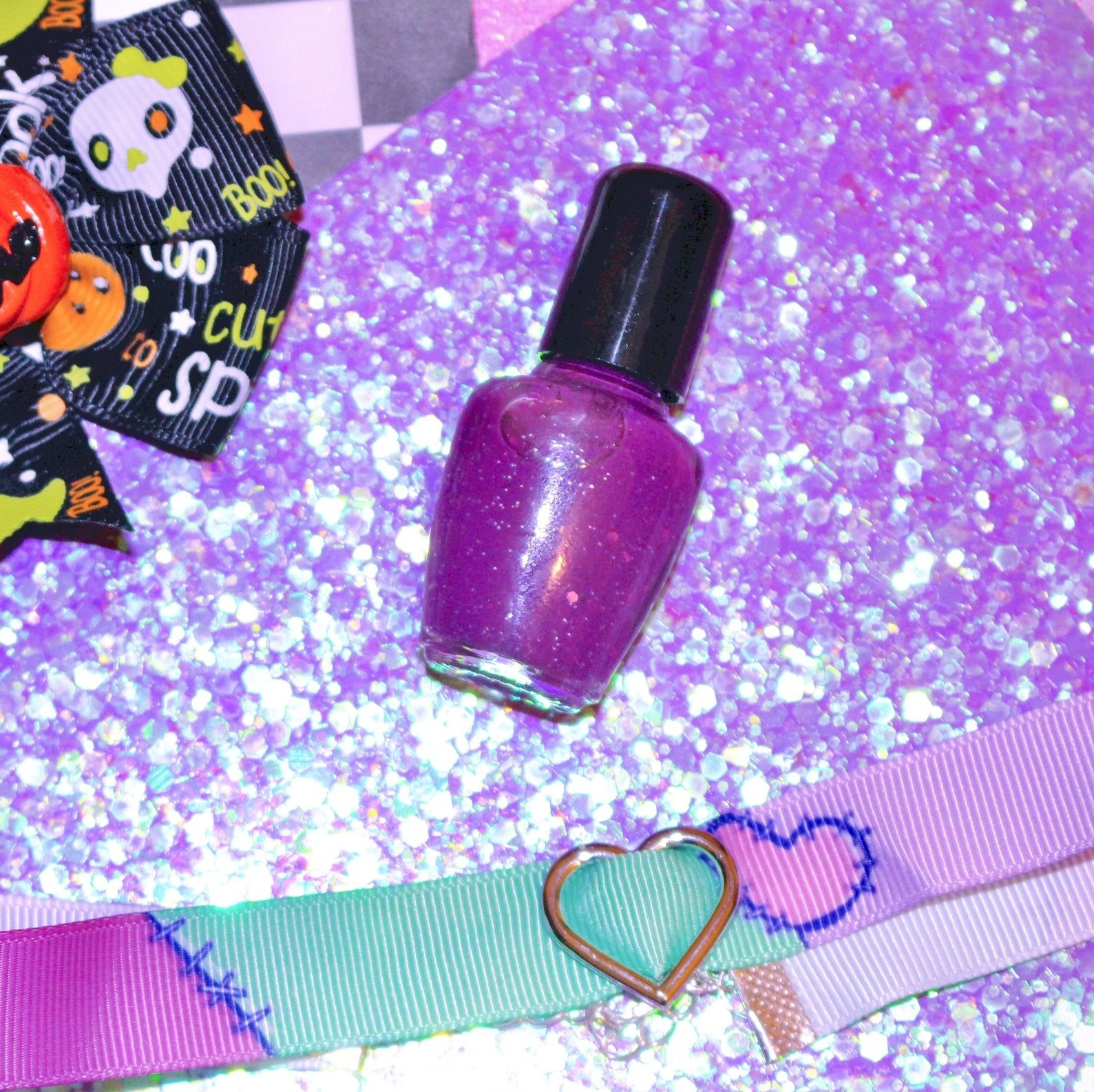 """""""Zombie Blood""""Nail Polish - Live kawaii, die kawaii. This rich purple nail polish features pink and silver glitters that can bring anyone back to life! Made by Pixel Spa, a small Texan beauty product seller. 💅😍"""