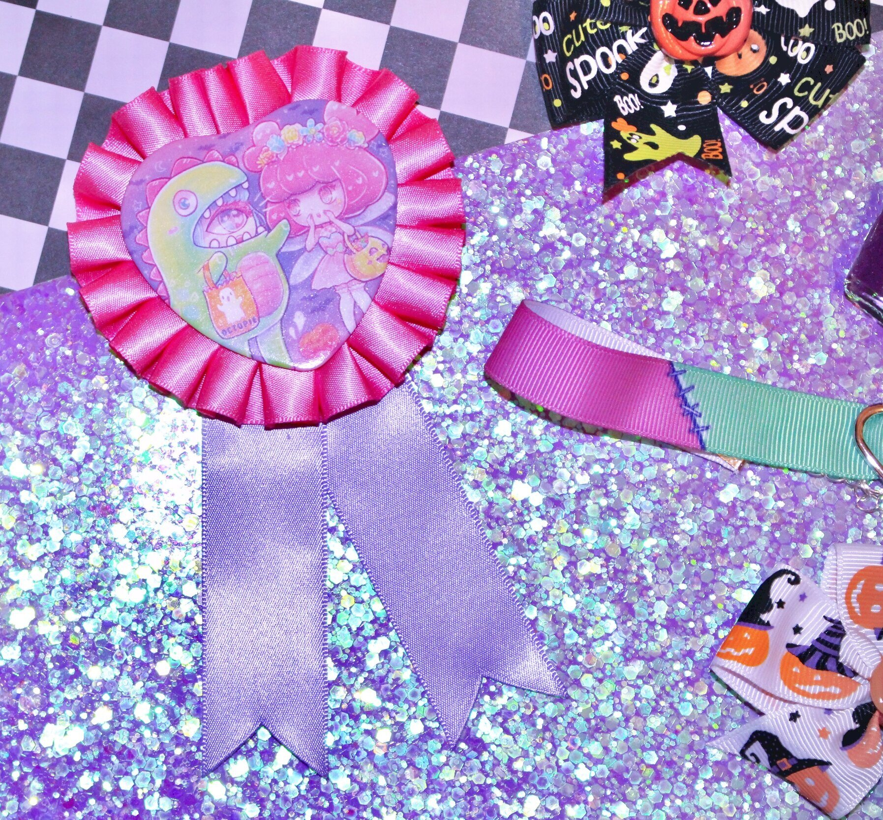 Halloween Pinback Rosette - This adorable rosette features beloved kawaii artist Miss Octopie's mascot charecters dressed up for Halloween! Pin this hot pink and lavender accessory to any outfit to add kawaii flare year round! 🍬🍭