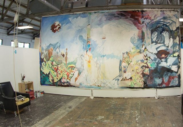 this is the only image I have of the largest painting I ever did. unfortunately, it got stolen from outside my house where I had it hanging up. I hope someone is enjoying it somewhere :)⁣ ⁣ #melbourneartist #oiloncanvas #dreamscape #mythological #worlding #oilpainting