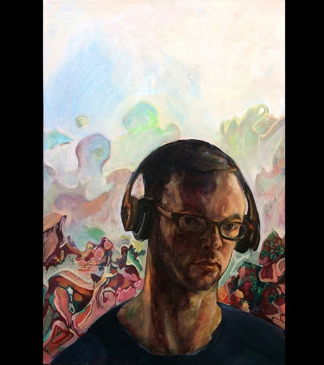 Self-portrait from 2017 - I painted over it after once again not getting into a self-portrait prize as I have enough of them floating around already⁣ ⁣ #oiloncanvas #melbourneartist #portraitpainting #selfportrait #oilpainting #paintingprocess #paintingfromlife #imaginarybackground