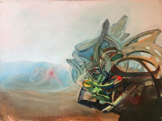 The Mystic and The Alchemist met in the desert.⁣ ⁣ #melbourneartist #oiloncanvas #dreamscape #mythological #worlding #oilpainting