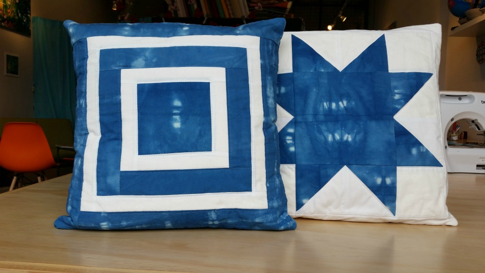 Indigo Square within a Square and Sawtooth Star Pillows.jp