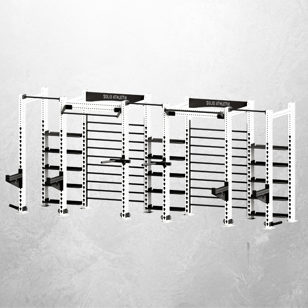 THE LINEAR - The Linear is designed to be space efficient for gyms, schools, CrossFit boxes and fitness studios.Much like our traditional free standing rigs, it successfully combines functional fitness (with pull up and upright monkey bars), pure strength training, with dedicated squat bays, but also incorporates (i) Storage shelfs for medicine balls, kettlebells, dumbbells and more (ii) Upright Monkey bars for suspension training and mobility work.The training system is to be arranged in a straight line, taking up minimal floor space and to sit flush to a wall, while being anchored to the floor. Customise with as many additional squat bays or place multiple in different areas of your facility.