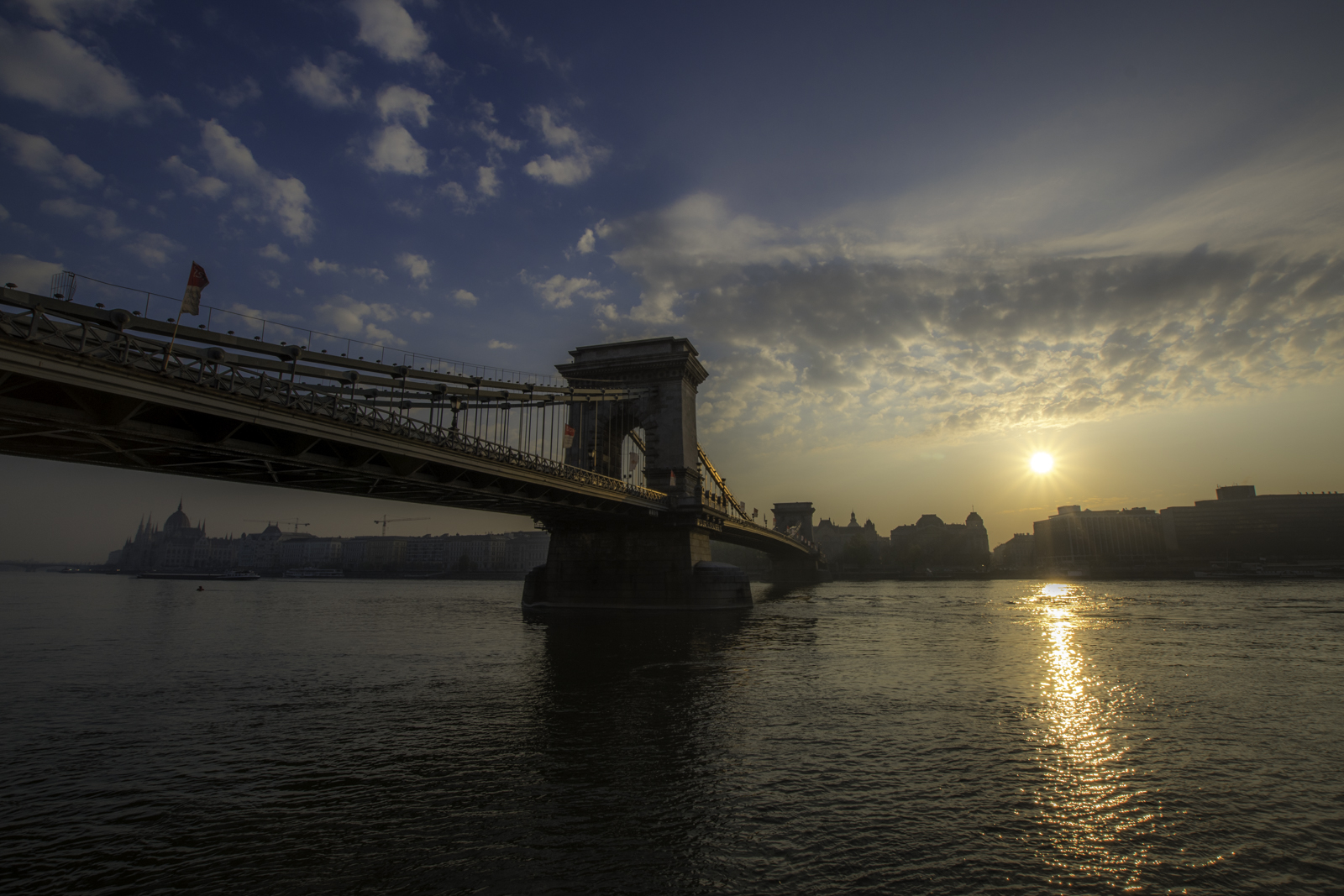 Just after the sunrise, walking along the Danube.