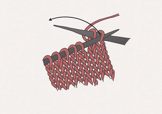 2/ Glissez l'aiguille gauche dans la première maille tricotée sur l'aiguille droite. Passez cette maille par-dessus la seconde maille tricotée, puis sortez là de l'aiguille, de sorte qu'il ne reste plus qu'une seule maille sur l'aiguille droite.