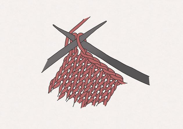 3/ Tricotez une autre maille endroit sur l'aiguille gauche puis passez la maille par-dessus la maille précédemment tricotée. Procédez de la sorte jusqu'à ce qu'il ne reste plus qu'une maille sur l'aiguille droite.
