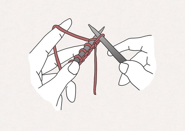4/ Passez la pointe de l'aiguille droite et la boucle formée précédemment à travers la maille située à l'avant de votre aiguille gauche.