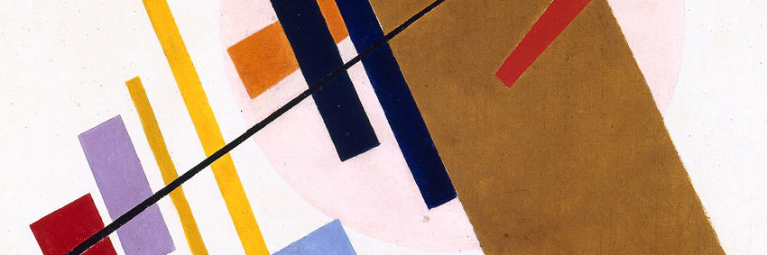 Detail from the artwork  Suprematism , by  Kazimir Malévich , present at the exhibition.